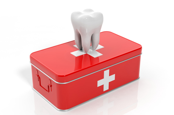 Rendering of tooth on emergency kit
